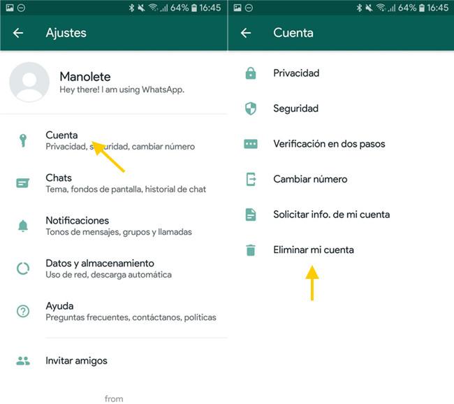 pasos para eliminar cuenta de WhatsApp