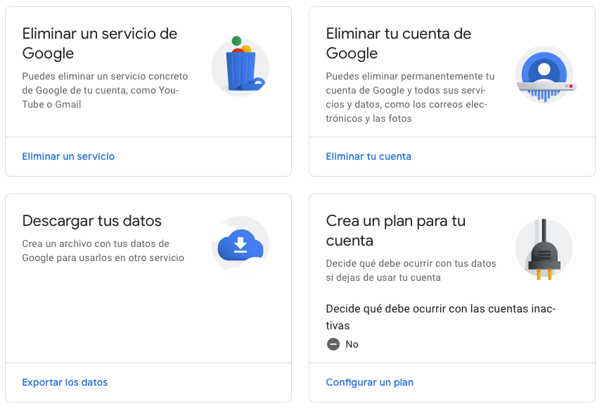 Eliminar un servicio de Google - Guía de Gmail